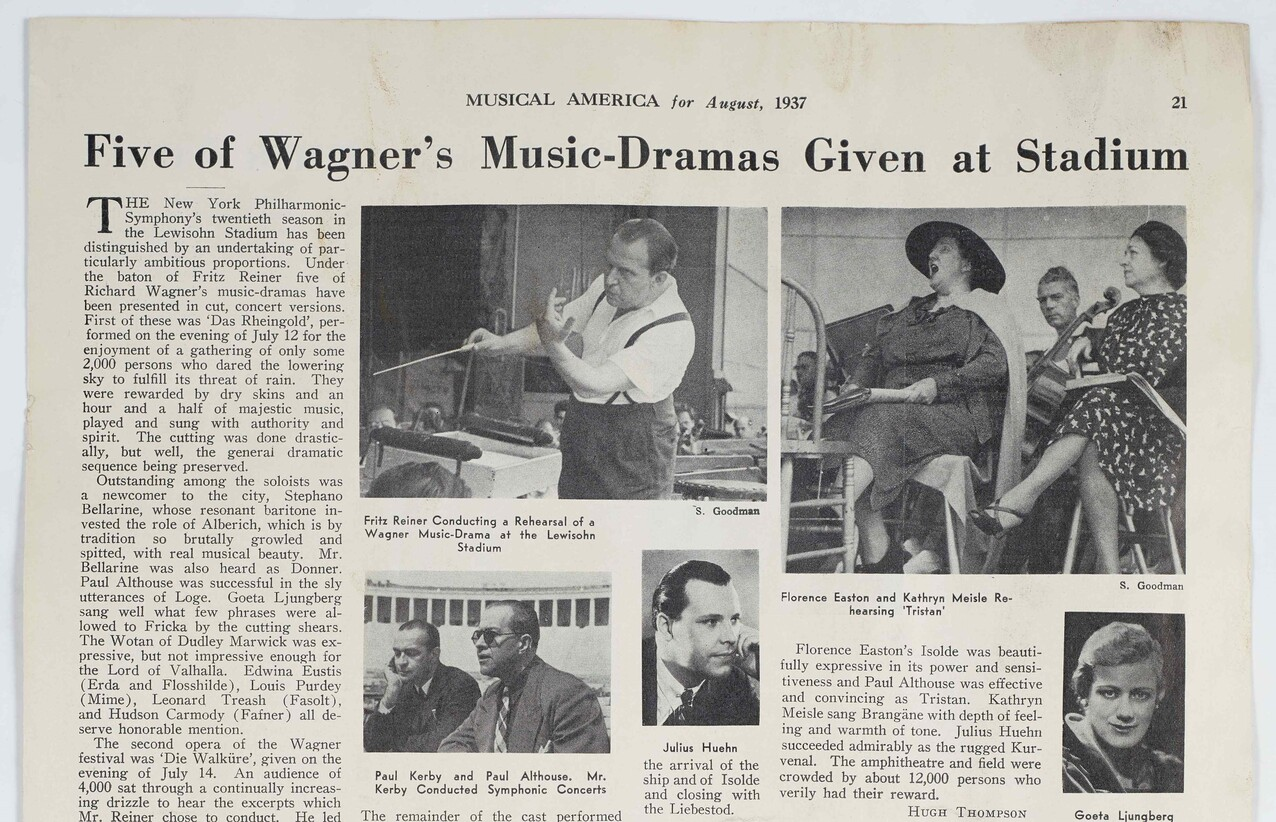 Section of an August 1937 review in the publication Musical America.