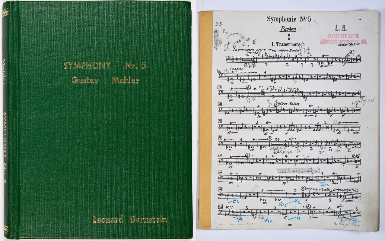 Cover of Leonard Bernstein's score to Mahler's Symphony No. 5 next to a marked timpani part