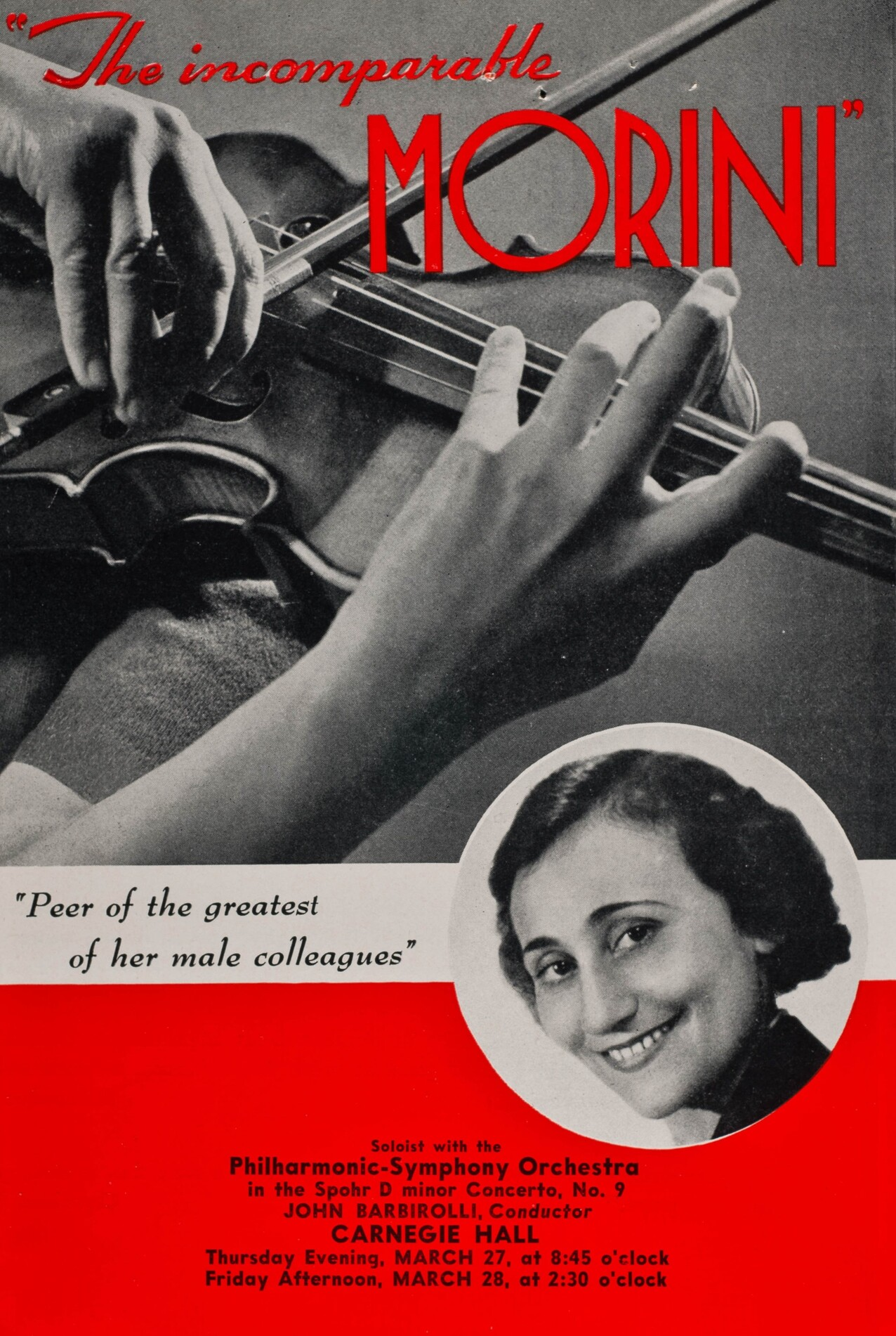 Advertisement for Erica Morini's March 1941 performances with the New York Philharmonic.