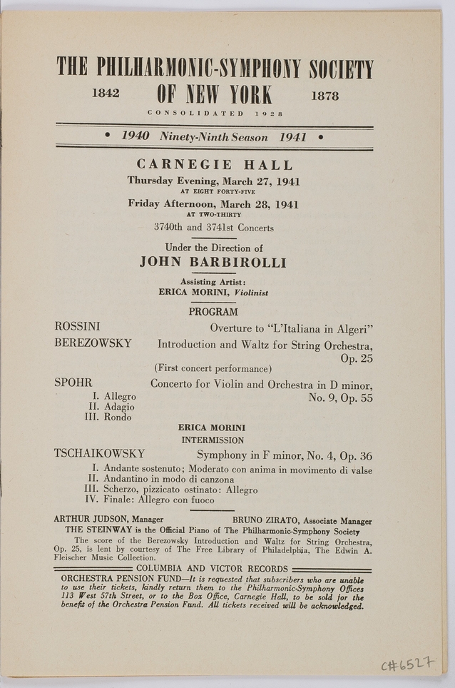 Concert program for Erica Morini's March 1941 performances with the New York Philharmonic.