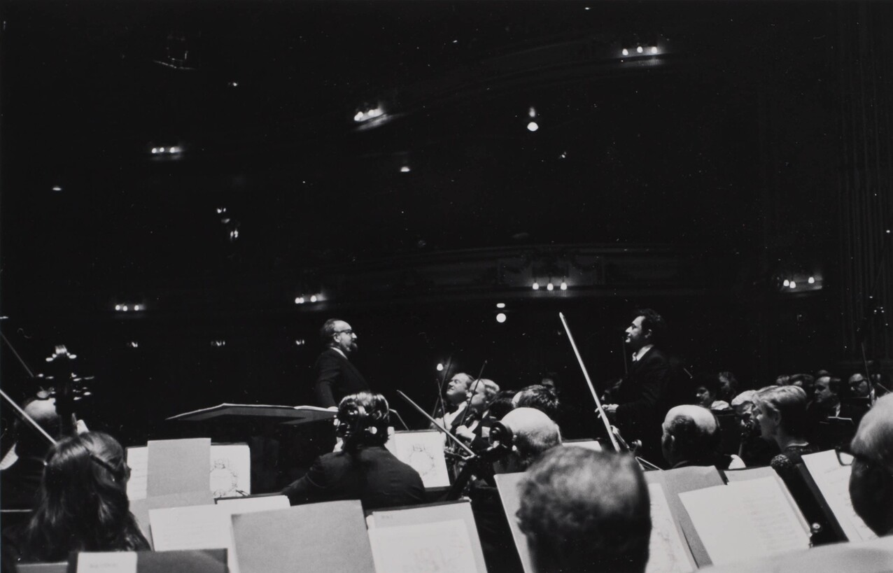 Zubin Mehta and Krzysztof Penderecki onstage for the European premiere of the Symphony in Edinburgh, August 24, 1980.