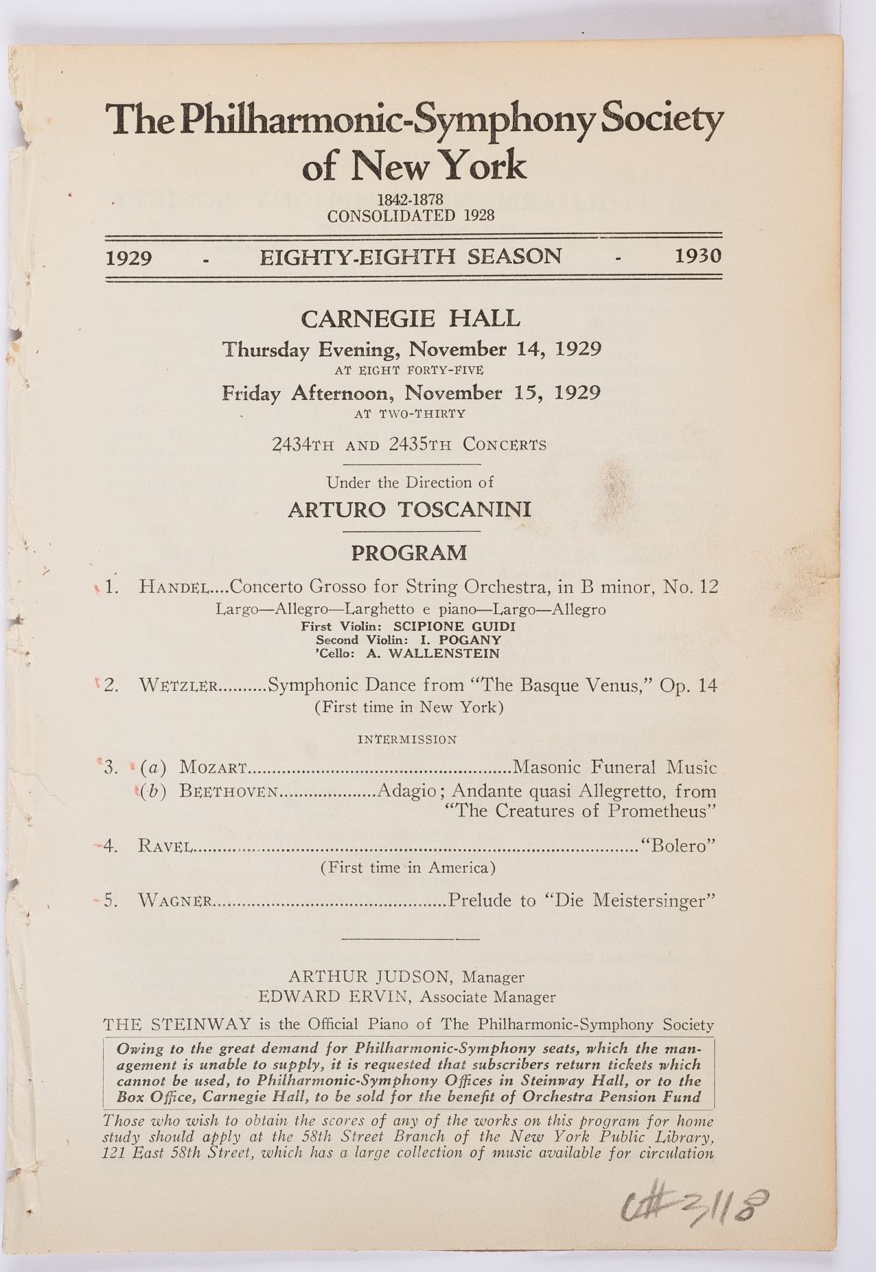 Concert program for the World Premiere of Boléro in concert-version by the Philharmonic and Toscanini, November 14, 1929.