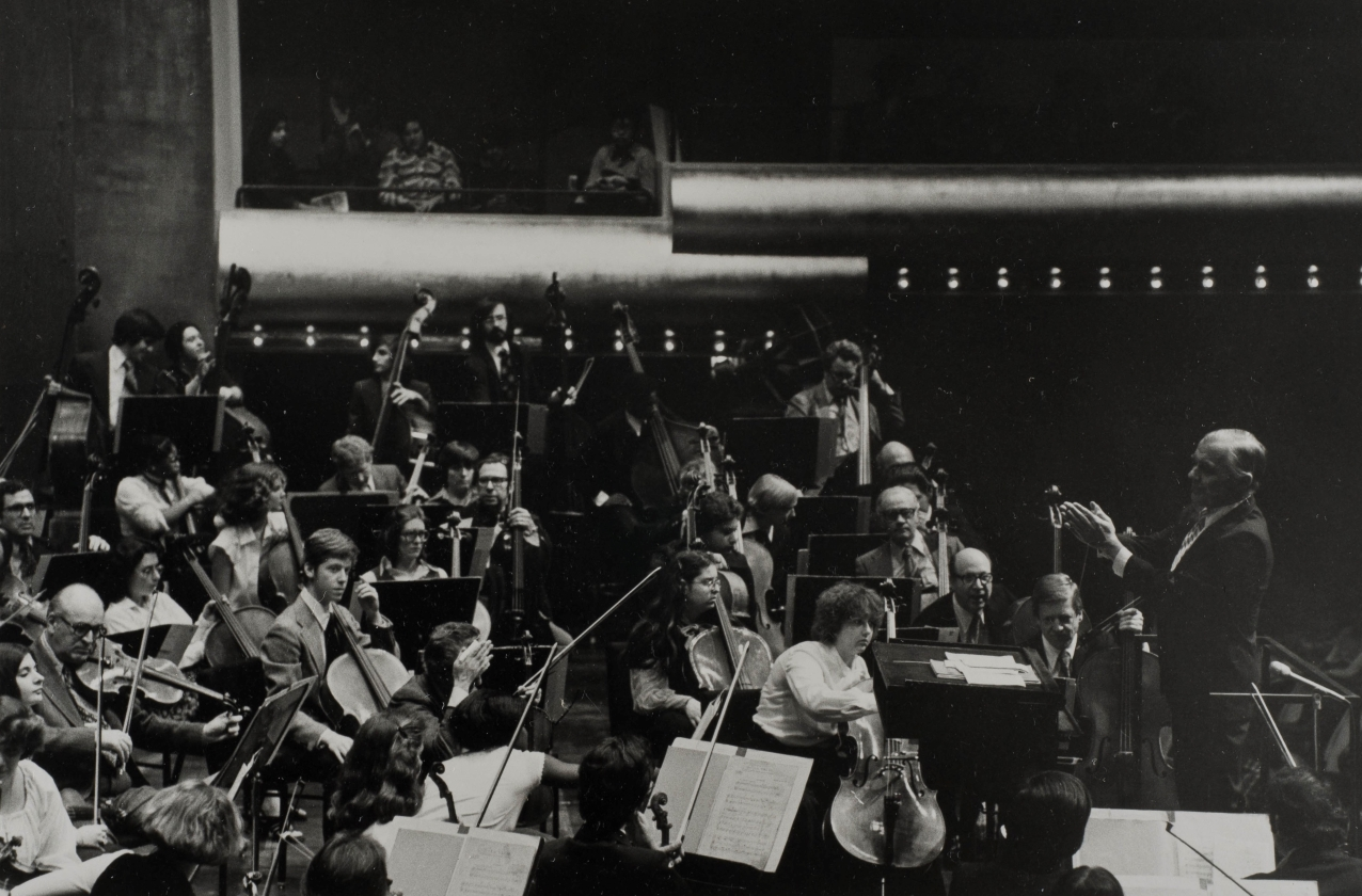 Sixten Ehrling conducts a combined orchestra of the New York Philharmonic and All-City Highschool Orchestra.