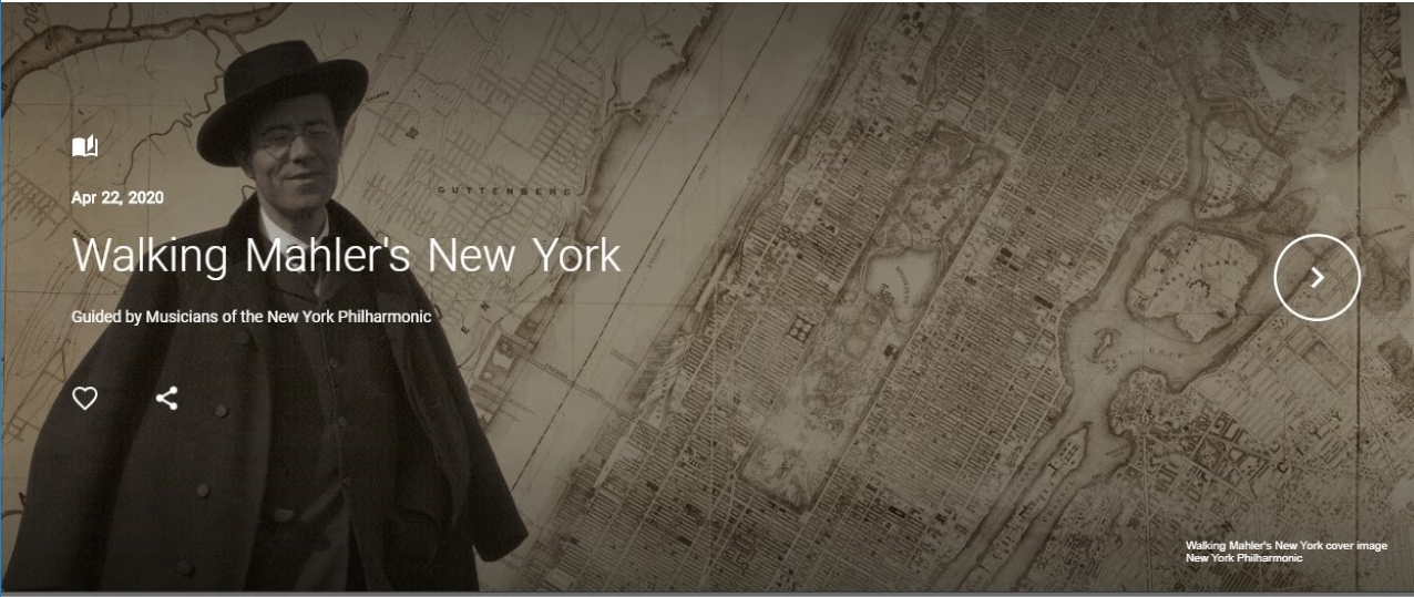 Gustav Mahler superimposed over an old map of New York City.