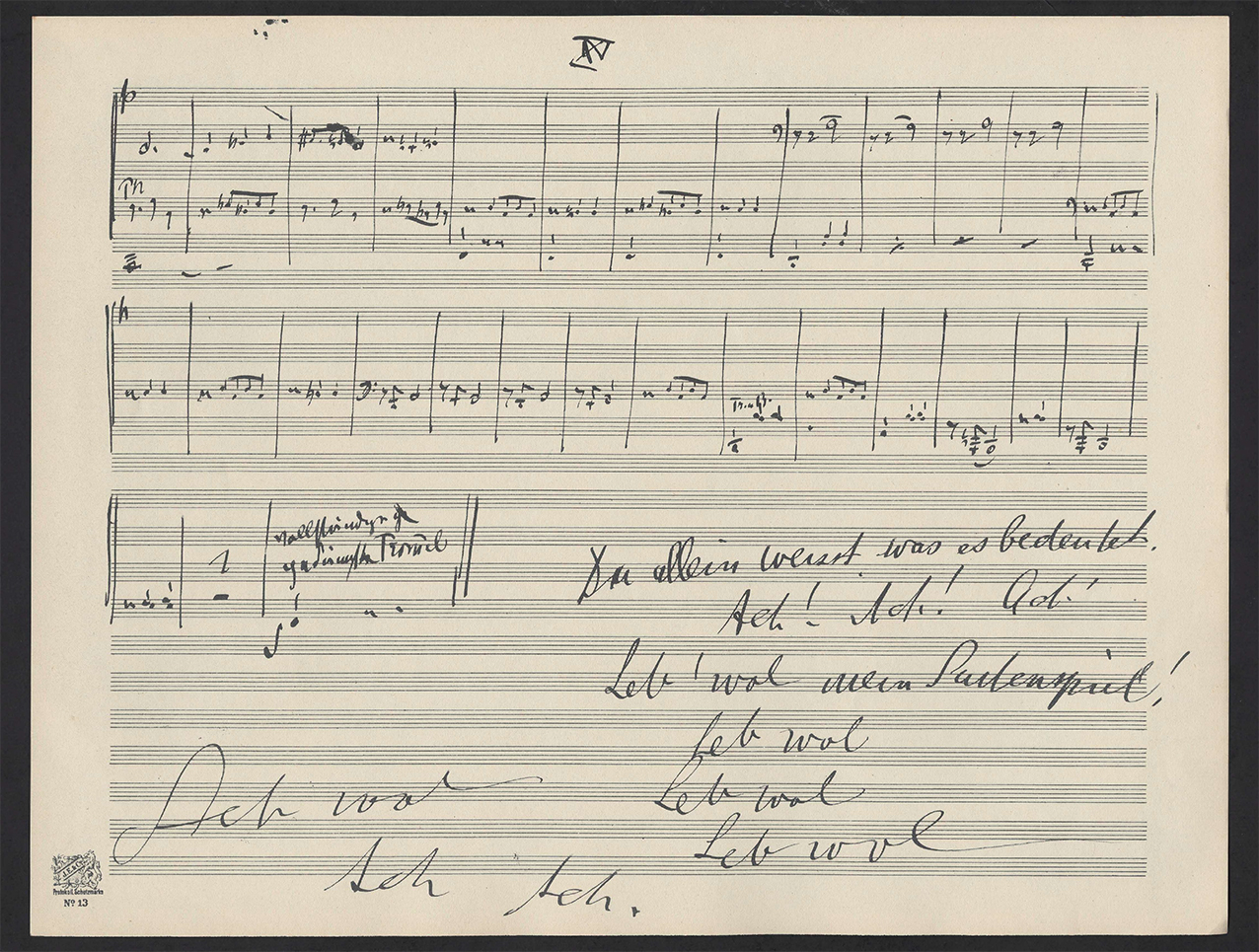 Handwritten music manuscript with German writing on it.