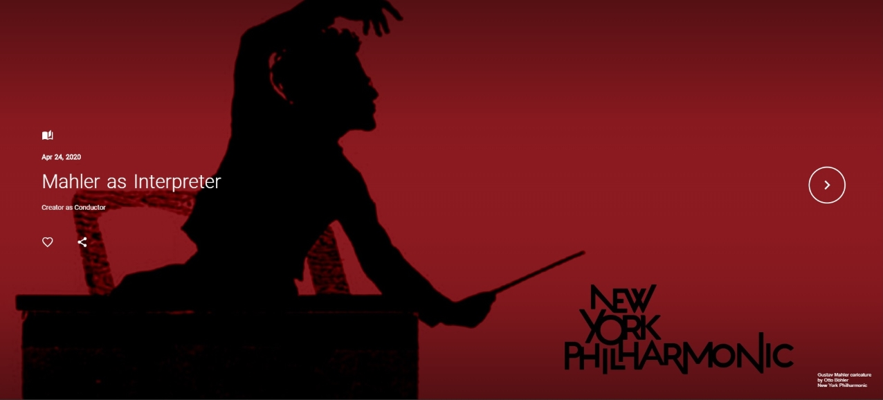 A black silhouette of Gustav Mahler conducting, over a red background.