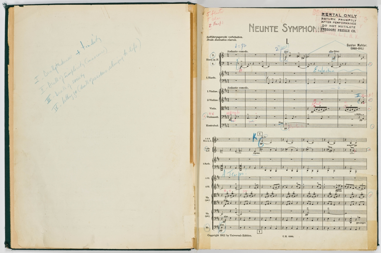 The first page of Leonard Bernstein's Mahler Symphony No. 9 score.