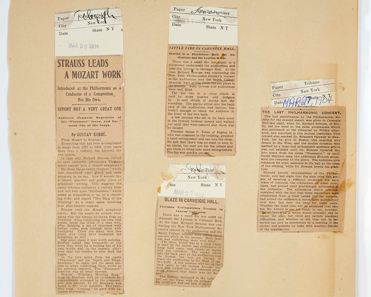 Articles cut out from 1904 newspapers