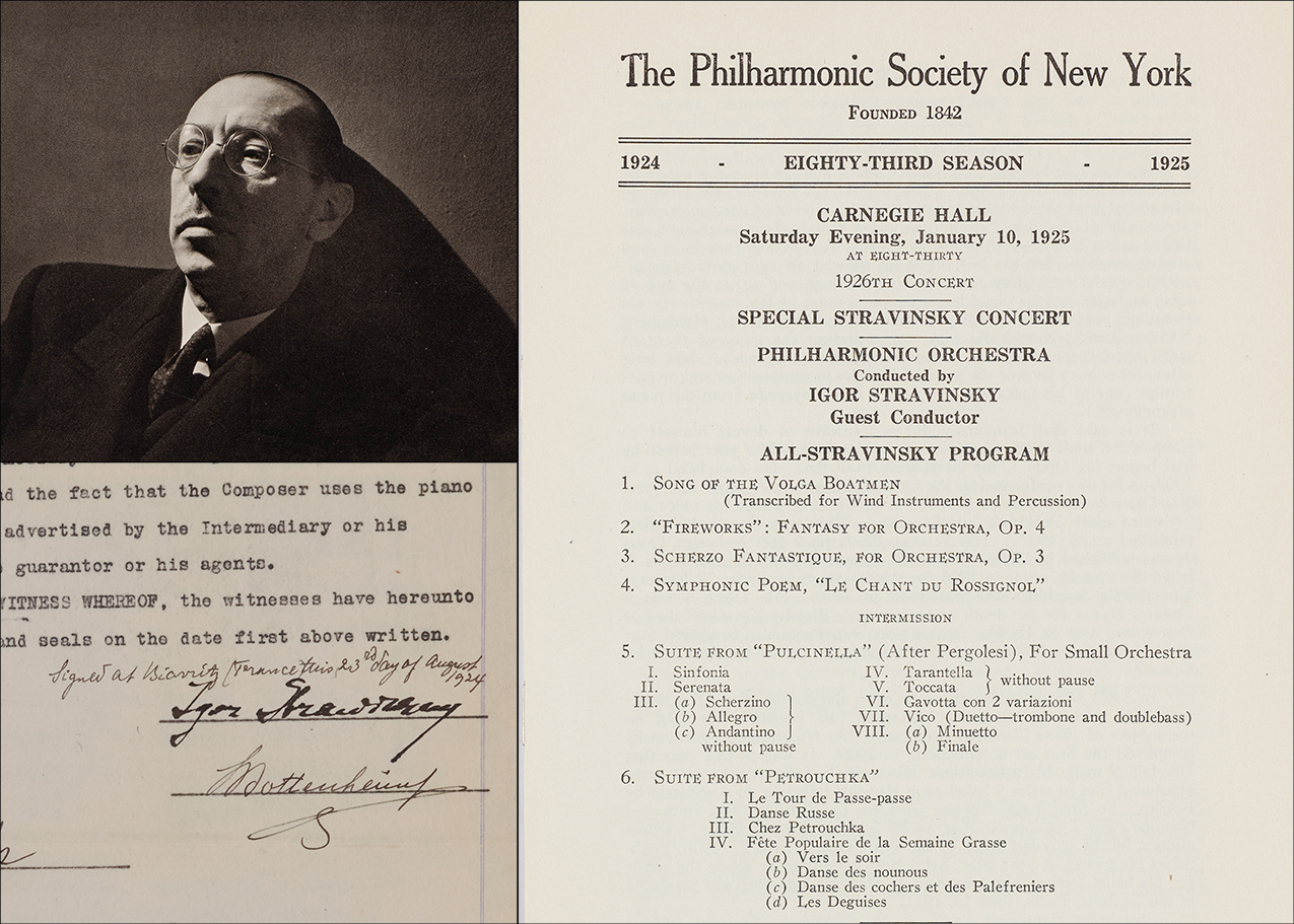 Igor Stravinsky, a New York Philharmonic program, and Stravinsky's signed contract from 1925