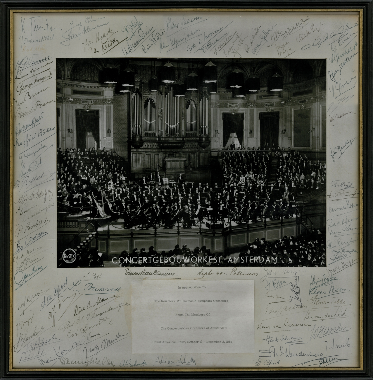 A portrait of the Royal Concertgebouw Orchestra, autographed by the musicians and conductor Eduard van Beinum