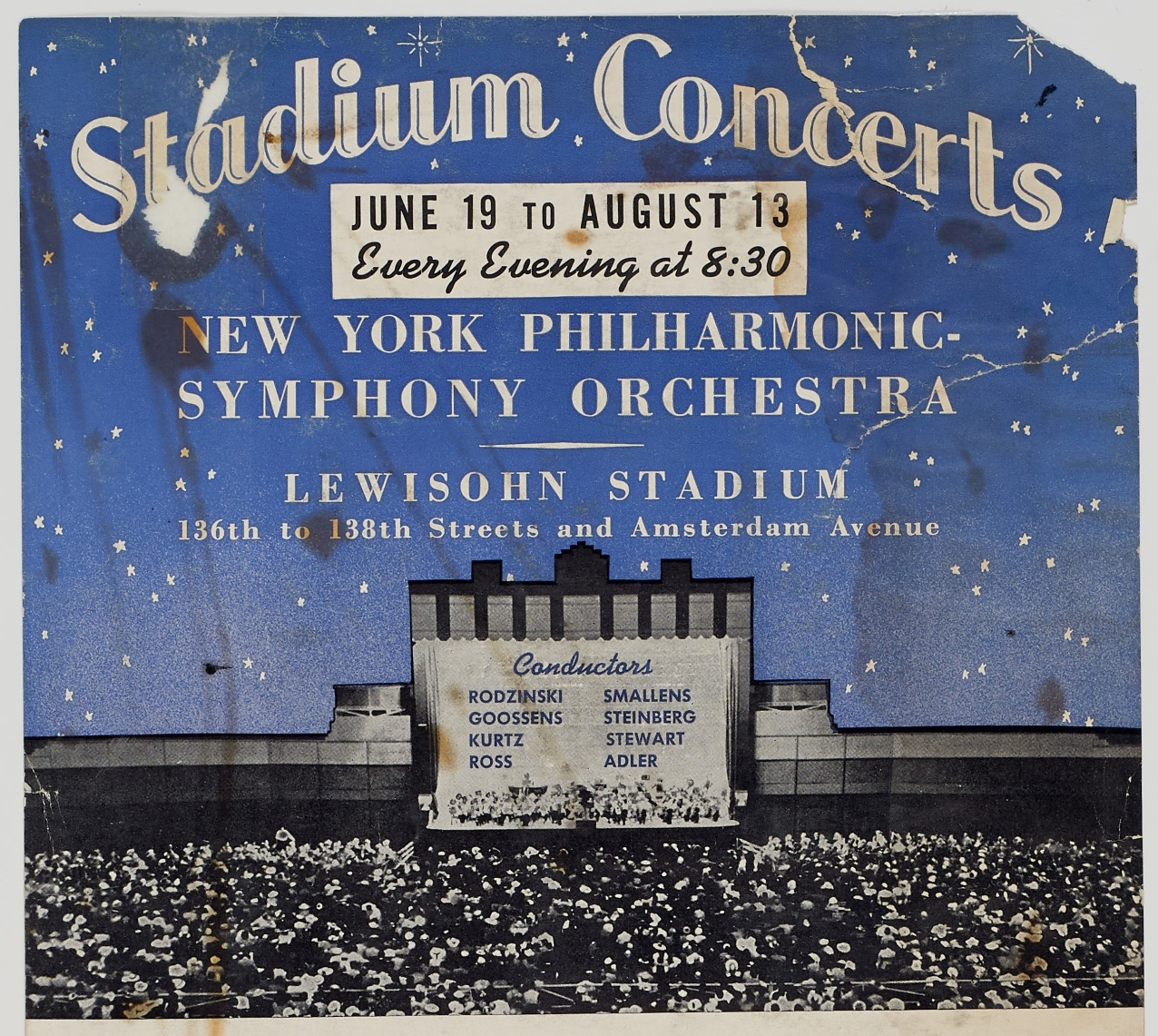 A blue posted advertising the 1941 Stadium Concerts