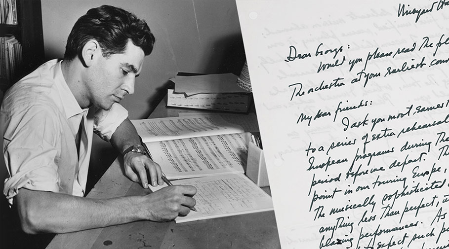 Photo of Leonard Bernstein writing at a desk with the image of a handwritten letter of his superimposed.