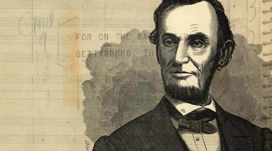 Engraving of Abraham Lincoln superimposed on a page of Copland's score.