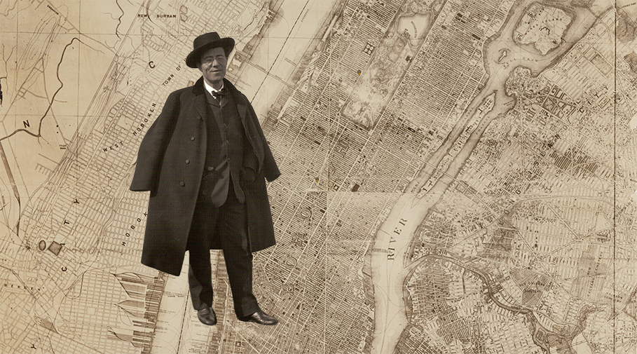 Photo of Gustav Mahler superimposed on a historical map of New York City.