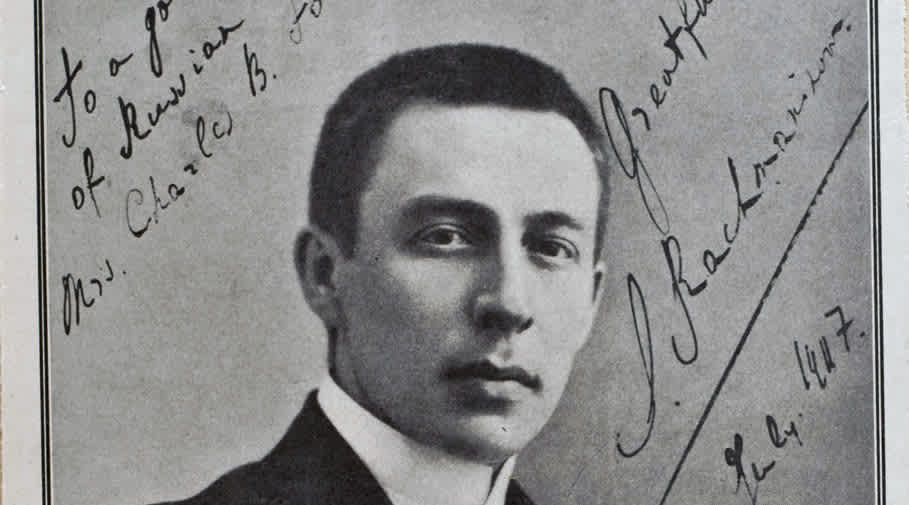 Detail of an autographed portrait of Rachmaninoff.