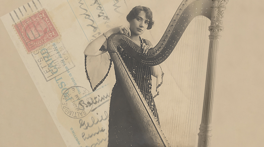 Photo of harpist Steffy Goldner with harp.