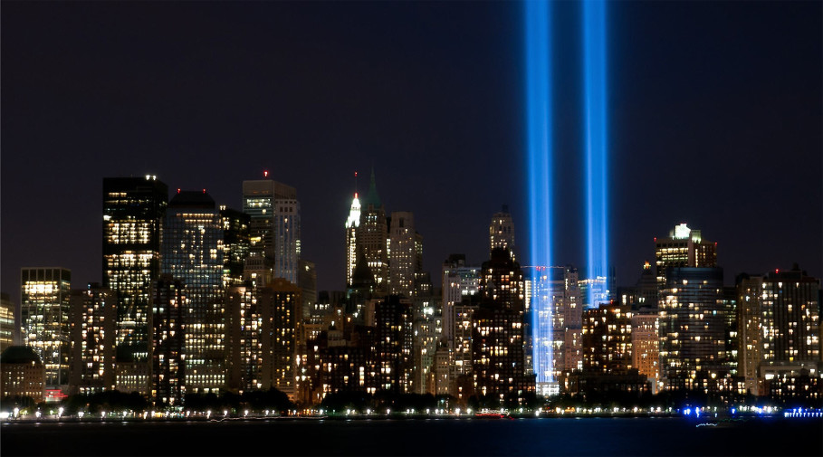 Photo of the New York City skyline with lights representing the Twin Towers.