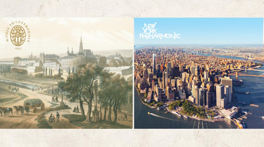 Aerial images of Vienna and New York City.