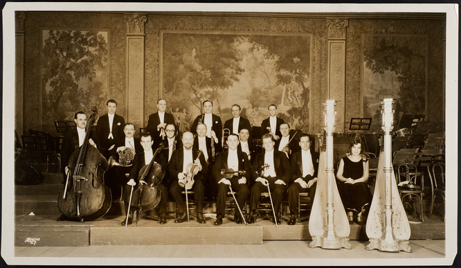 Photograph of New York Philharmonic Principal musicians with Goldner at far right