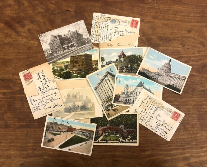 Photo of a collection of postcards from Steffy Goldner to her mother in Vienna chronicling Goldner's travels around the country
