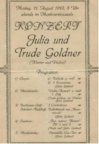 First page of program for 1919 concert by Julia and Trude Goldner.