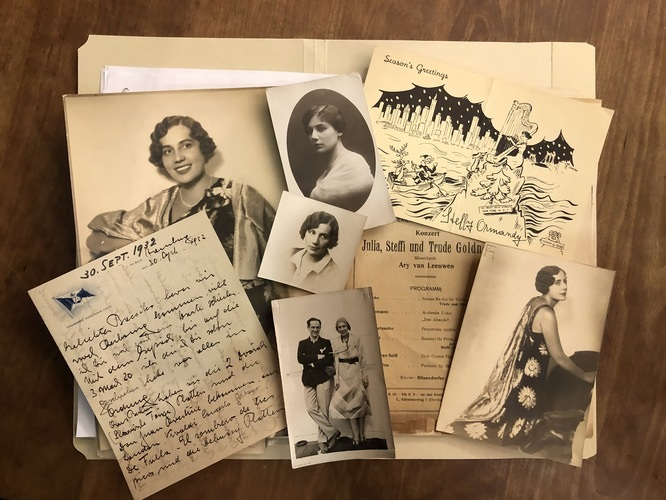 Personal letters, programs, and photographs used to tell Goldner's story