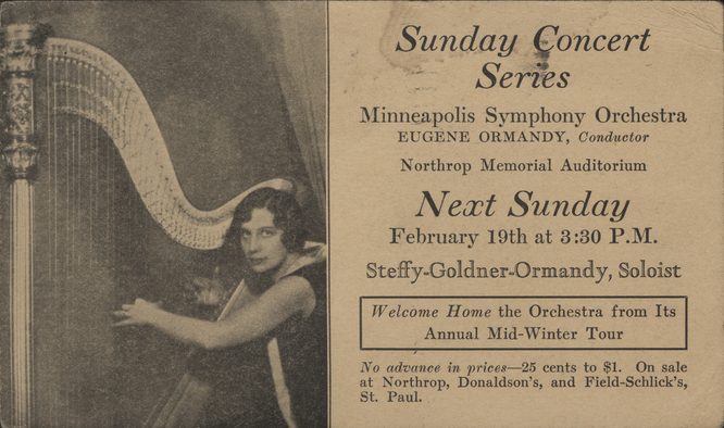 Advertisement of Steffy Goldner's solo performance with the Minneapolis Symphony
