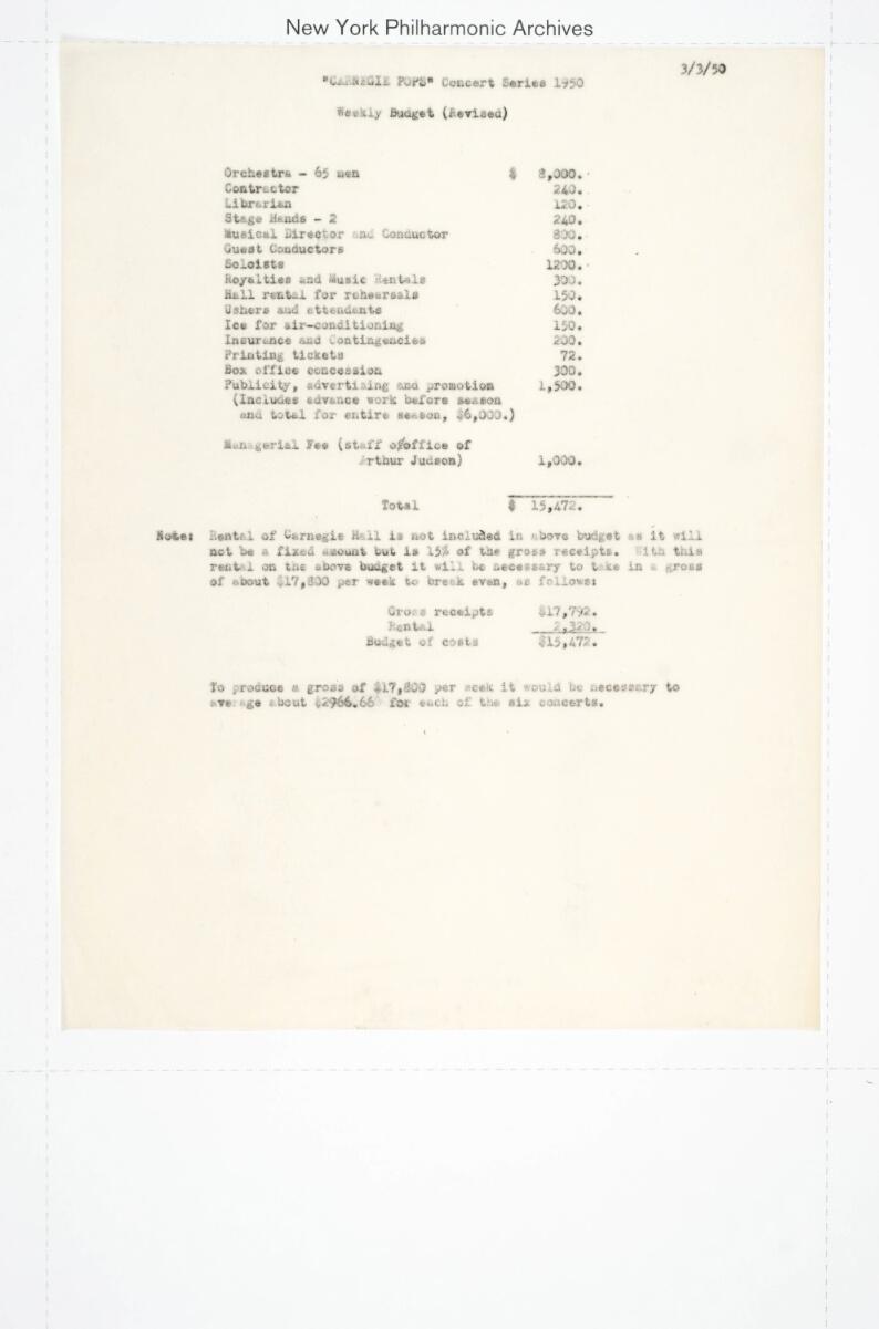 Carnegie Pops 1950 season , Mar 3, 1950 - Jul 3