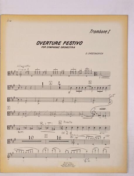 Shostakovich, Dmitri / FESTIVE OVERTURE, OP  9